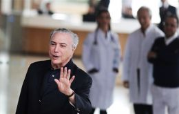 Temer, 77, spent Saturday night in the hospital in a semi-intensive care unit but has moved out of it to continue recovering before returning to work on Tuesday (Reuters)