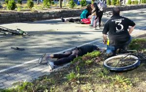 The merciless driver's rampage left several bloodied victims and mangled bicycles in his wake.