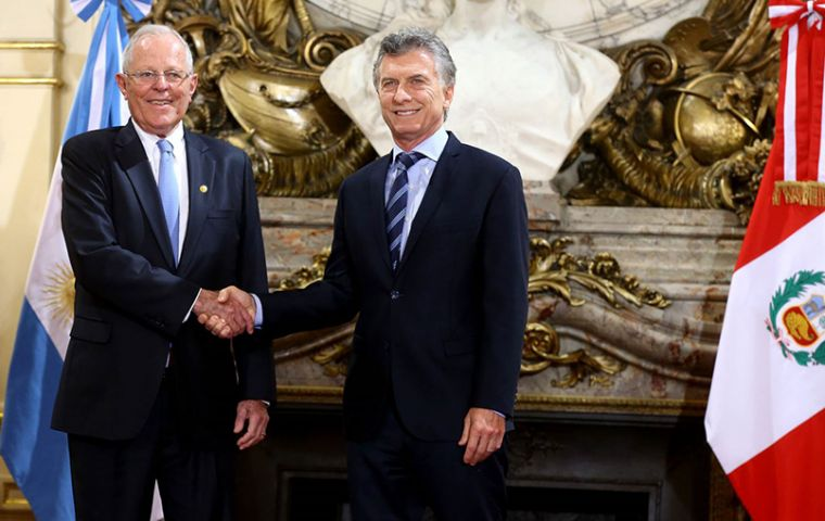 President Mauricio Macri in Buenos Aires and visiting Pedro Pablo Kuczynski said the two countries would discuss the price of Peruvian corn imports from Argentina.