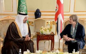 During a trip to Saudi Arabia in April, Mrs. May held talks with Aramco chairman Khalid Al-Falih, who is also Saudi Arabia's energy minister.