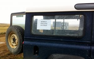 Land Rover voting: A mobile polling station in the rural Falklands.(Pic: The Delian Project).