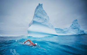 Pugh became the first person to swim in the spot. His 19-minute swim took him past the Grytviken whaling station to near the grave of explorer Sir Ernest Shackleton.