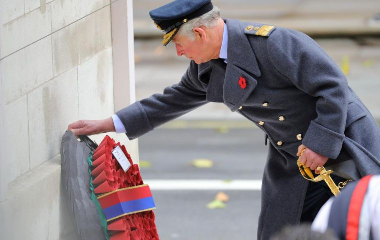 The heir of the British throne lays the first wreath at the Cenotaph on Remembrance Sunday