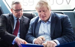 It also follows reports over that the prime minister had been sent a letter from two pro-Brexit members of her cabinet, Boris Johnson (R) and Michael Gove (L)