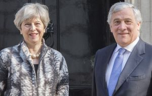 The officials said Antonio Tajani, the president of the Parliament, told political group leaders about May's decision on Wednesday in Strasbourg