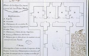 "Details of the ""provisional blueprint of the Chapel in the Malvinas islands"" indicate A, chapel; D, sacristy; B, room for a chaplain; C room for another chaplain"