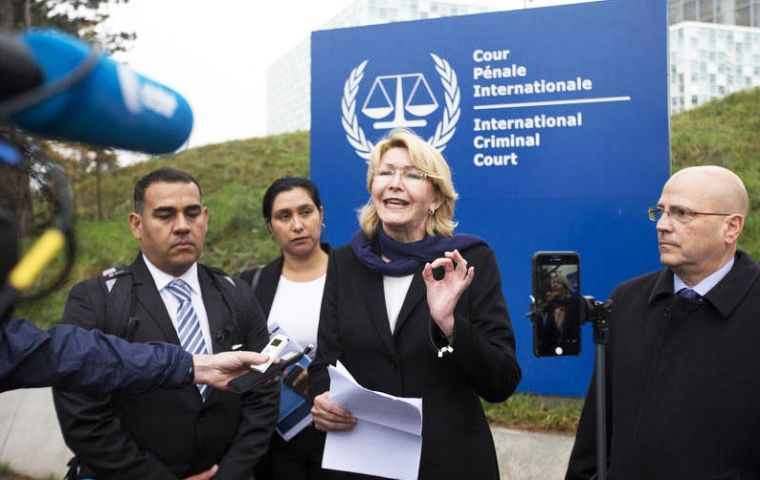 """Nicolas Maduro and his government must pay for this, for these crimes against humanity,"" said Luisa Ortega, outside the ICC tribunal in The Hague"