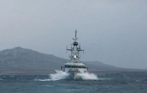 Falklands patrol HMS Clyde is returning from South Georgia, although she will take a few days sailing to reach the area