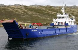 Concordia Bay is a 45.5m Landing craft flagged in the Falklands as a passenger/cargo vessel and owned by Workboat Services Ltd.