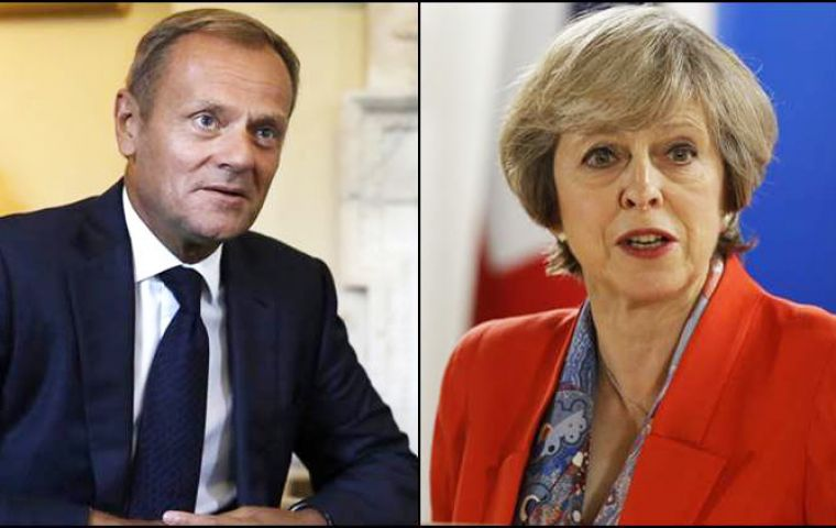 "Talks on trade will not be allowed to begin until EU leaders are satisfied that ""sufficient progress"" has been made, Tusk told Mrs May"