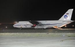 The huge Antonov-124 Ruslan airlifter lands in Argentina with the Pantera Plus remote-control unmanned deep-sea descent vehicle, and support team