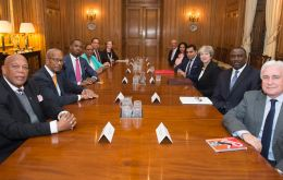 Overseas Territories leaders at Downing Street with Prime Minister Theresa May