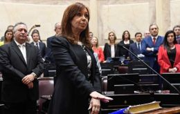 Cristina Fernandez was applauded and cheered, before and after the oath by some lawmakers and followers who attended the event.