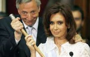 Cristina was president eight years from 2007/2011 and 2011/2015, while her late husband Nestor Kirchner, 2003/2007.