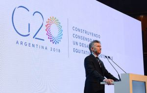 """We are going to put at the center of the G20 the aspirations and concerns of the developing region, which is keen for new opportunities,"" Macri said"