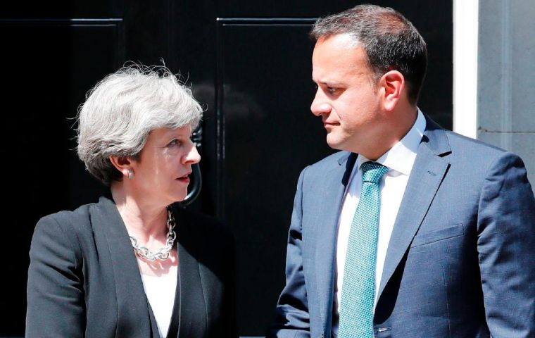 "Varadkar said he had a ""very good call"" with May but that he reiterated the firm Irish position on issue of the border"