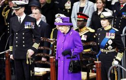 Her Majesty The Queen takes the salute at the commissioning of HMS Queen Elizabeth