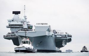 HMS Queen Elizabeth calling Portsmouth. She is scheduled to head to the US for flight trials