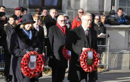 Falklands Government Representative Ms Sukey Cameron and Mr Andrew Rosindell MP go forward to lay their wreaths for the FI Government and the FI All-Party Parliamentary Group