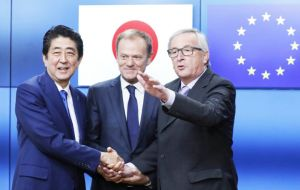 "Abe and EC chief Jean-Claude Juncker said earlier that the agreement, which was four years in the making, had ""strategic importance"" beyond its economic value."