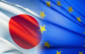 """Japan and the EU will join hands and build an economic zone based on free and fair rules,"" Abe told reporters in Tokyo."