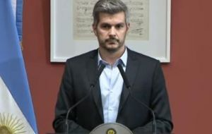 "Cabinet chief Marcos Peña accused the opposition of inciting the violence: ""We saw the clear search for violence, first in the street and then on the premises itself."""