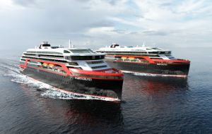 The vessel will be the first of two hybrid ships added to Hurtigruten's fleet in the coming years.