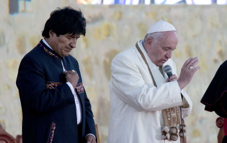"According to the Vatican the pope and Morales spoke about ""various themes of common interest,"" and there was no mention of the ongoing dispute. AP"