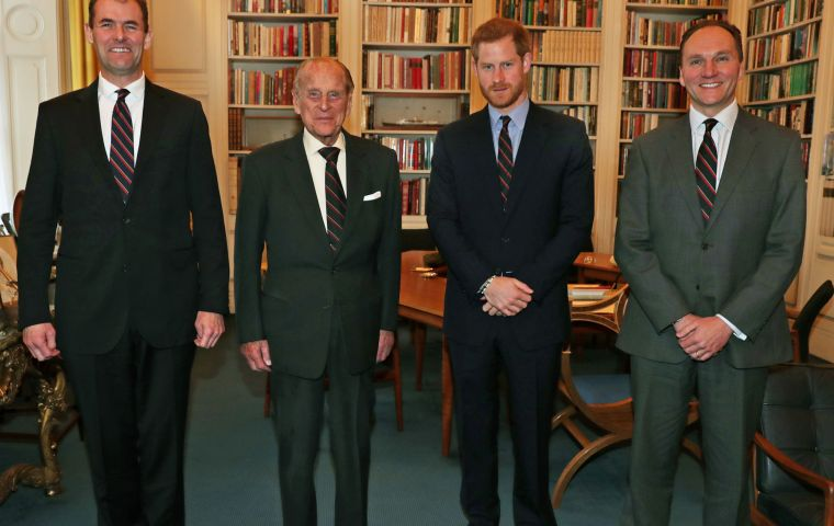 L-R: Major General Robert Magowan, The Duke of Edinburgh, His Royal Highness Prince Harry and Major General Charles Stickland