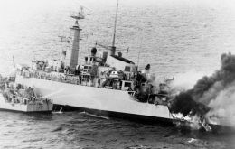 Sister HMS Ardent sank in Grantham Sound after being hit by a succession of bombs on May 21, 1982.