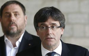 Deposed Catalan President Carles Puigdemont has campaigned from self-imposed exile in Brussels and Oriol Junqueras from a prison outside Madrid. Foto: EFE