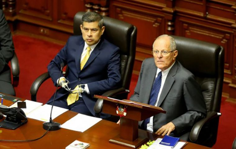 Applause erupted in congress when it became clear the opposition would fall short of the two-thirds vote needed to remove Kuczynski.