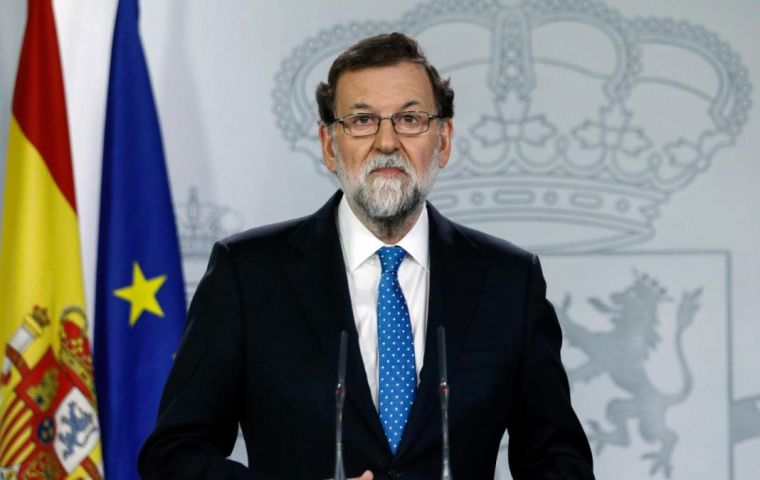 "After congratulating voters for an election with no incidents, Rajoy ruled out speaking to Puigdemont saying the person he ""has to sit down with is Arrimadas."""