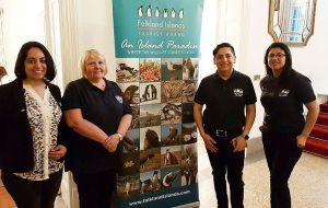 Stephanie and her team at the Prado show in Montevideo, with the Falklands tourism promotion stand