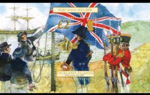 The moment the British flag is raised in the Falklands in 1833, recalled in a stamp