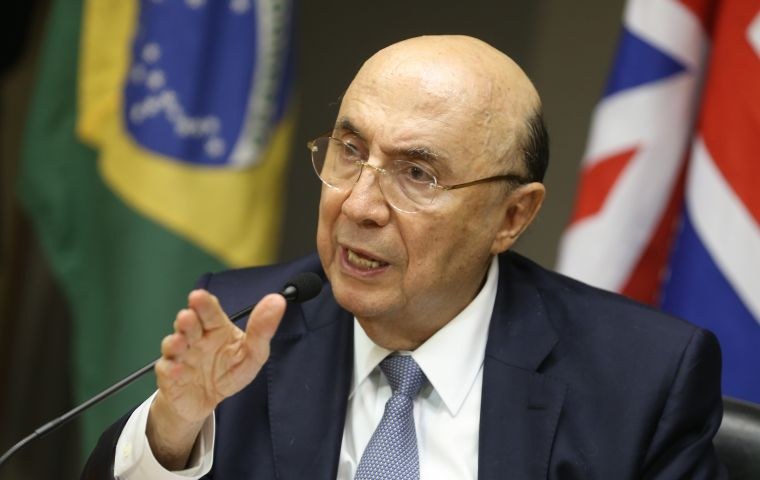 "Economy Minister Henrique Meirelles said the improvement was owed to better ""fiscal control, a freeze on public spending and reforms in general."""