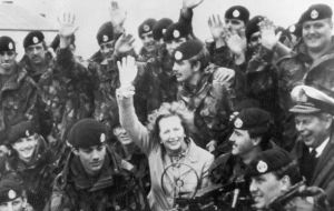 Mrs Lewis visited the Falklands in 1983 as a journalist and keeps a framed copy of the front page of the Penguin News published on the day victory was declared.