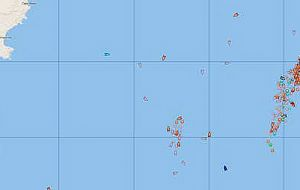 Fishing vessels, some 200+, in orange on the high seas 400 miles north of the Falklands - inset gives scale mile.