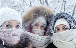 A teenager selfie with her eyebrows frozen. Although even with minus 40 Celsius, schools are open in Yakutia, minus 67 was a bit too much