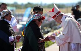 """Violence eventually turns a most just cause into a lie,"" Francis told an exuberant crowd of about 150,000 mostly Mapuche on a military airfield in southern Chile."