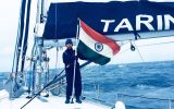 The tiny sailboat INVS Tarini with its six member crew left India last September and should be arriving in Goa next April. (Pic by Indian Navy)