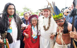 Francis travelled to the steamy city of Puerto Maldonado, the gateway to Peru's Amazon, signaling that the Amazon natives his top priority in Peru.