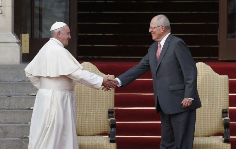 "With President Kuczynski next to him, the pope said that tackling corruption required ""a greater culture of transparency"""