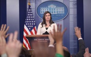 """We will not negotiate the status of unlawful immigrants while Democrats hold our lawful citizens hostage over their reckless demands,"" White House press secretary Sarah Huckabee Sanders said"