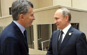 At the meeting with president Putin, Macri will be accompanied by foreign minister Jorge Faurie and the secretary of Strategic Affairs, Fulvio Pompeo