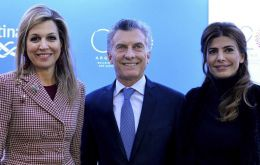 President Macri with First Lady Awada and Netherlands queen Maxima