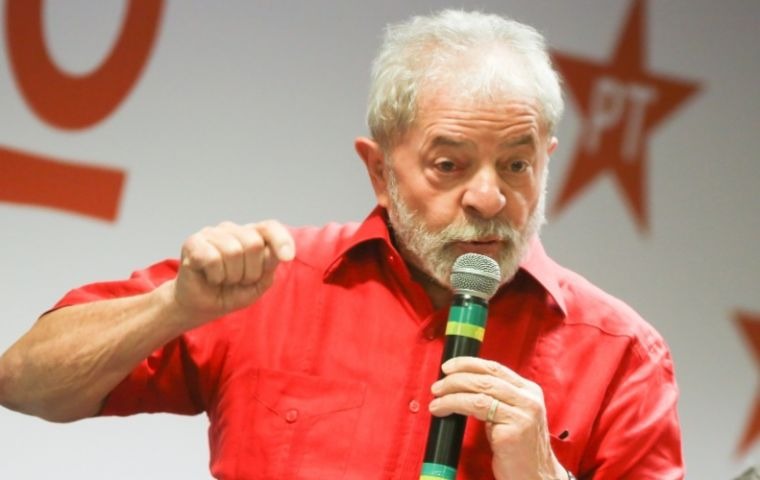 """I accept the nomination as pre-candidate of the Workers' Party,"" the ex-president said in an acceptance speech during a high-level PT meeting in Sao Paulo."
