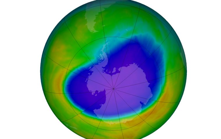 Antarctic ozone hole forms during September in the South Hemisphere winter as returning sun's rays catalyze ozone destruction cycles of chlorine and bromine