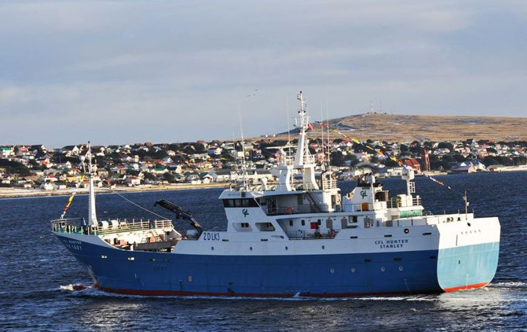 """The Falkland Islands Government obtain almost 60% of its annual revenue from the fishing sector"" (Pic R. Goodwin)"