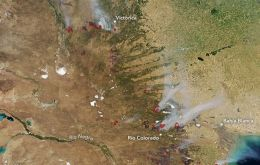 NASA's Aqua satellite captured an image of a wildfire in La Pampa Province, on January 29, 2018.